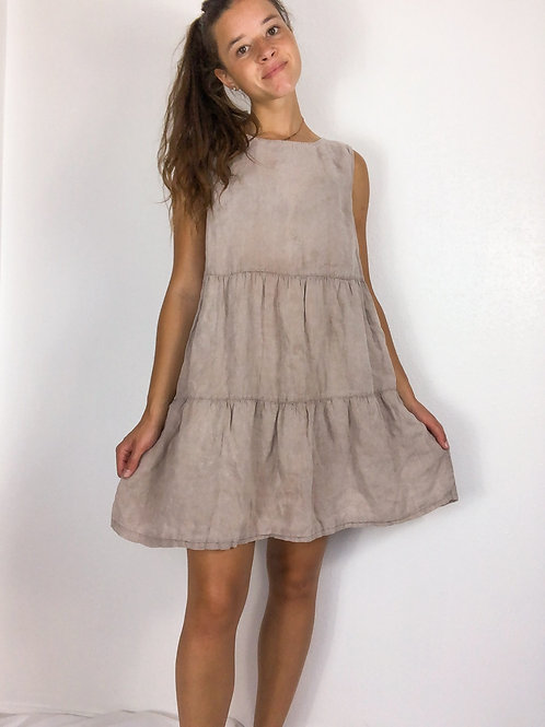Linen tiered dress-large