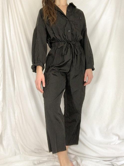 Black drawstring waist jumpsuit-medium