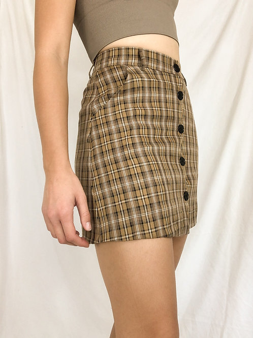 Paid button up high waisted skirt-small