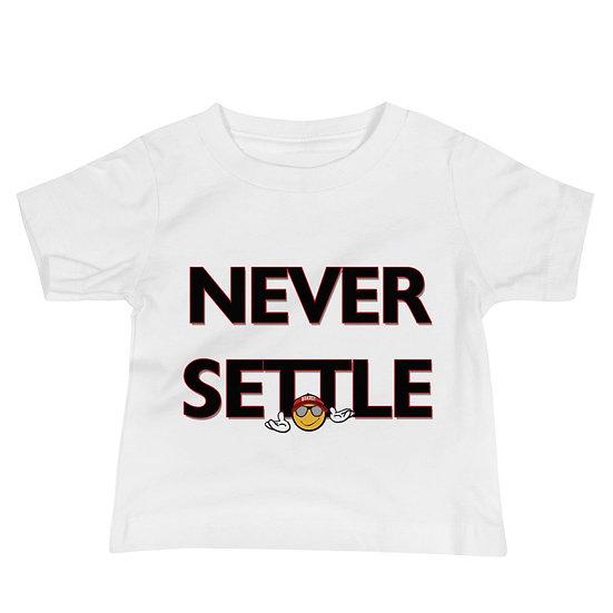 """Never Settle"" Baby Jersey Short Sleeve Tee"