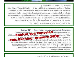 Capital Tea Canceled Thursday, January 24th!