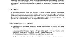 PROTOCOLO DE VIAJES AÉREOS Y MICROS DE LARGA DISTANCIA QUEINGRESAN A LA PROVINCIA DE CÓRDOBA