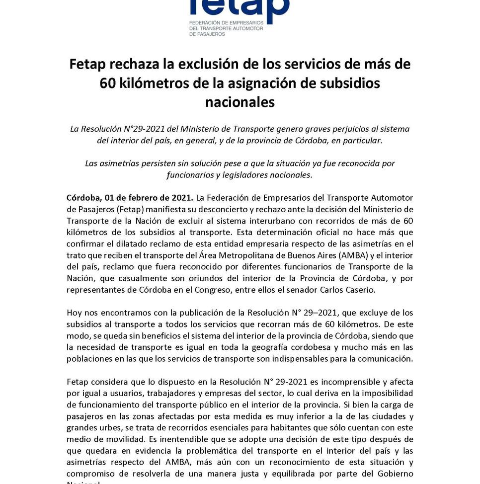 Fetap rechaza la exclusión de los  servicios de más de 60 Km de los subdidios nacionales