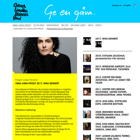 Sveriges Radio om Anna Lindh-priset