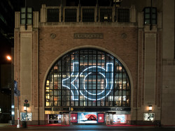 Giant KD logo in the window