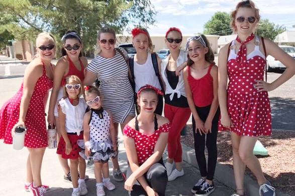 Group photo before the Crash Burger Sock Hop performance!