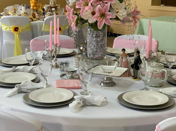 Pink and Silver Table