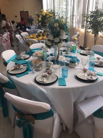 Aqua Blue and White Table