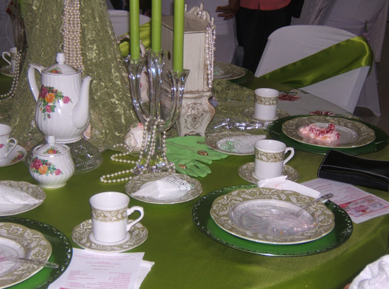Green and White Table