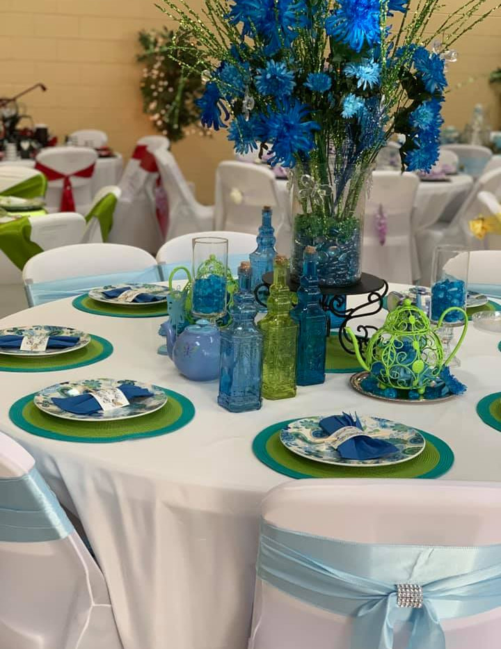 Peacock Blue and Green Table