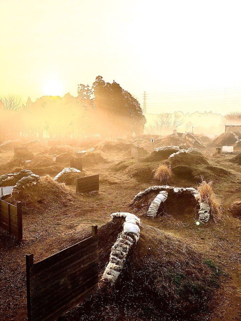 冬の朝のフィールドでは幻想的な景色が広がります。