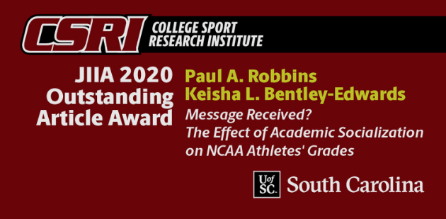 Announcement of the College Sport Research Institute's JIIA Outstanding Article Award