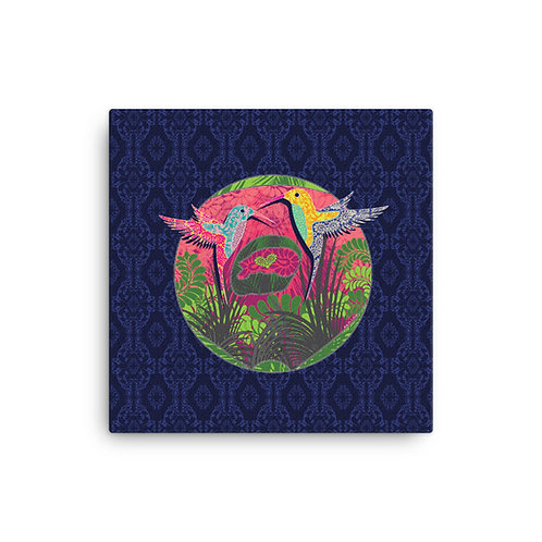 Canvas pregnancy art Hummingbird blue