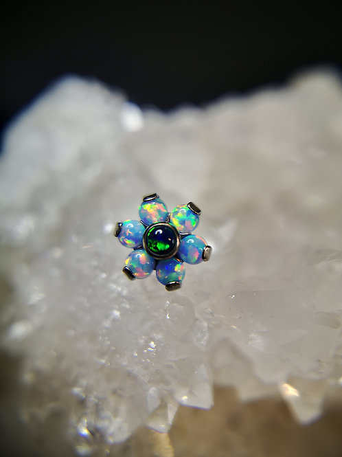 BioMetal Blue Opal And Crystal Flower