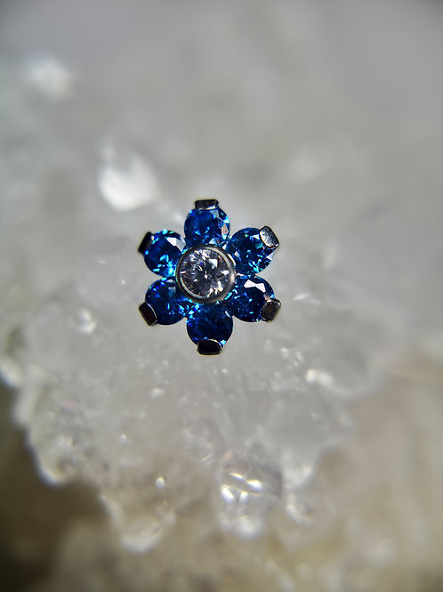 BioMetal Blue Crystal Flower