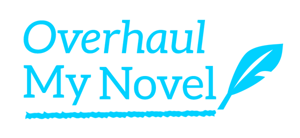 Overhaul My Novel logo - blue with an underline and a feather quill