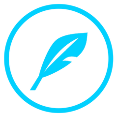 Overhaul My Novel quill logo, blue circle with a feather quill in the center