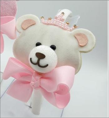 Tiara Infantil Maria Chica Urso veludo coroa laço gorgurão, brilho, pérolas