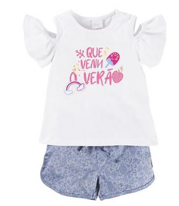 Conjunto Menina Blusa Recorte + Short Estampado- Color Mini