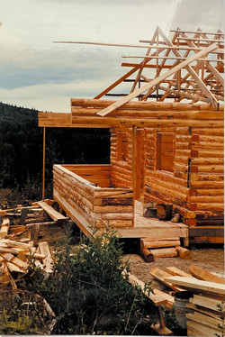 Our first log Chalet being Built- 1985