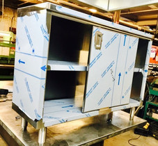 Custom Built Stainless Steel Cabinet with Sliding Doors