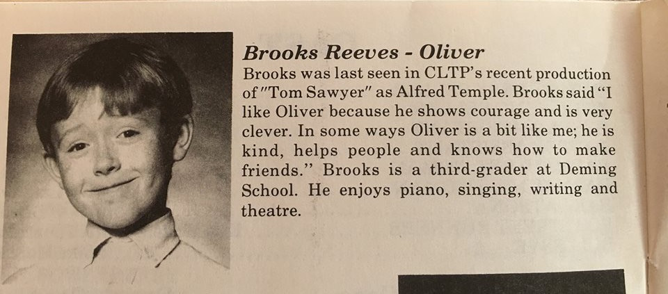 My first real play was at 8 years staring in a production of Oliver at Cheyenne Little Theater Players