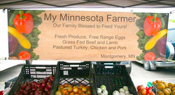 Marketing Studio - Colorful and descrptive banner advertising a small CSA in Montgomery, Minnesota