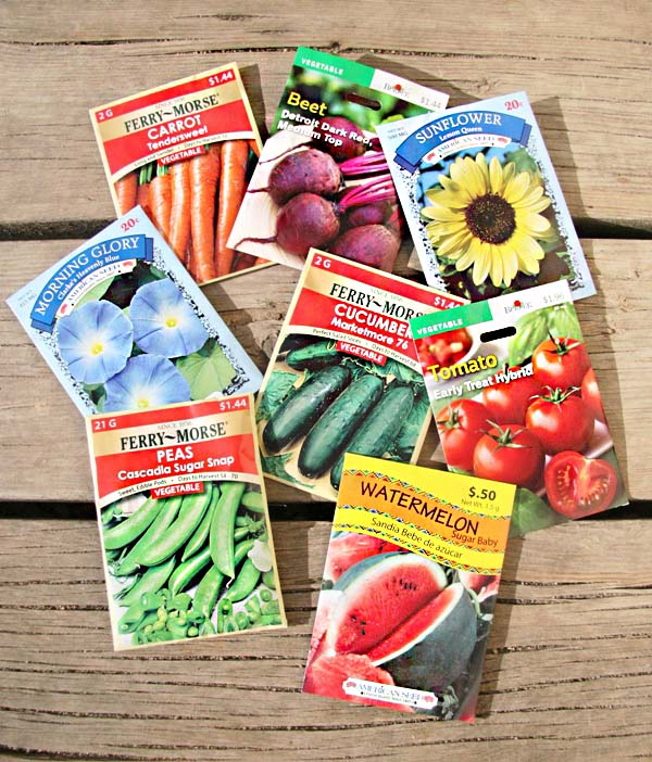Well-branded colorful seed packets