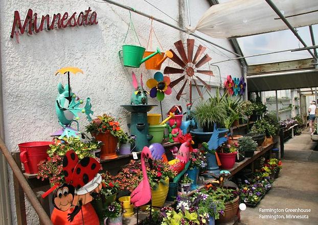 Cheerful greenhouse display at Farmington Greenhouse