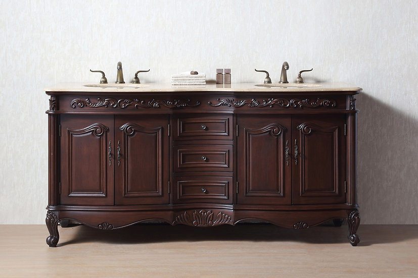 """72"""" Saturn Double Sink Vanity with Travertine Marble Top"""