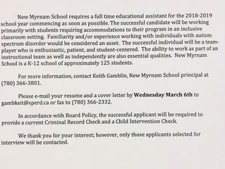 New Myrnam School is Hiring!