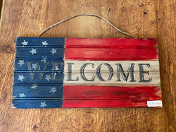 RED, WHITE, & BLUE WELCOME SIGN