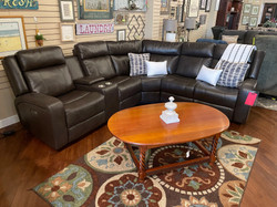 BROWN LEATHERETTE SECTIONAL WITH 2 POWER RECLINERS