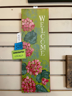 PINK & GREEN WELCOME SIGN