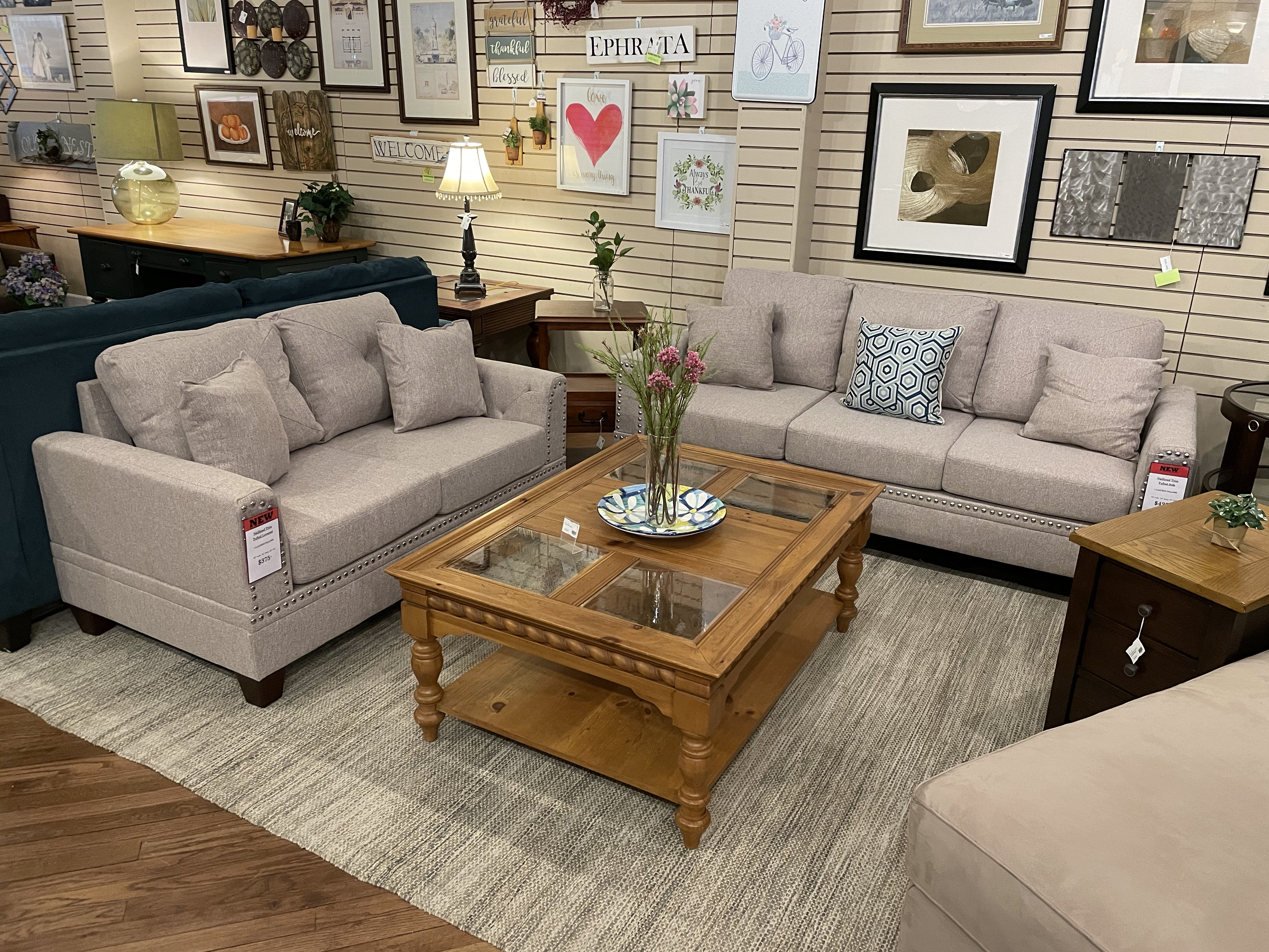 TAN NAILHEAD TRIM SOFA & LOVESEAT