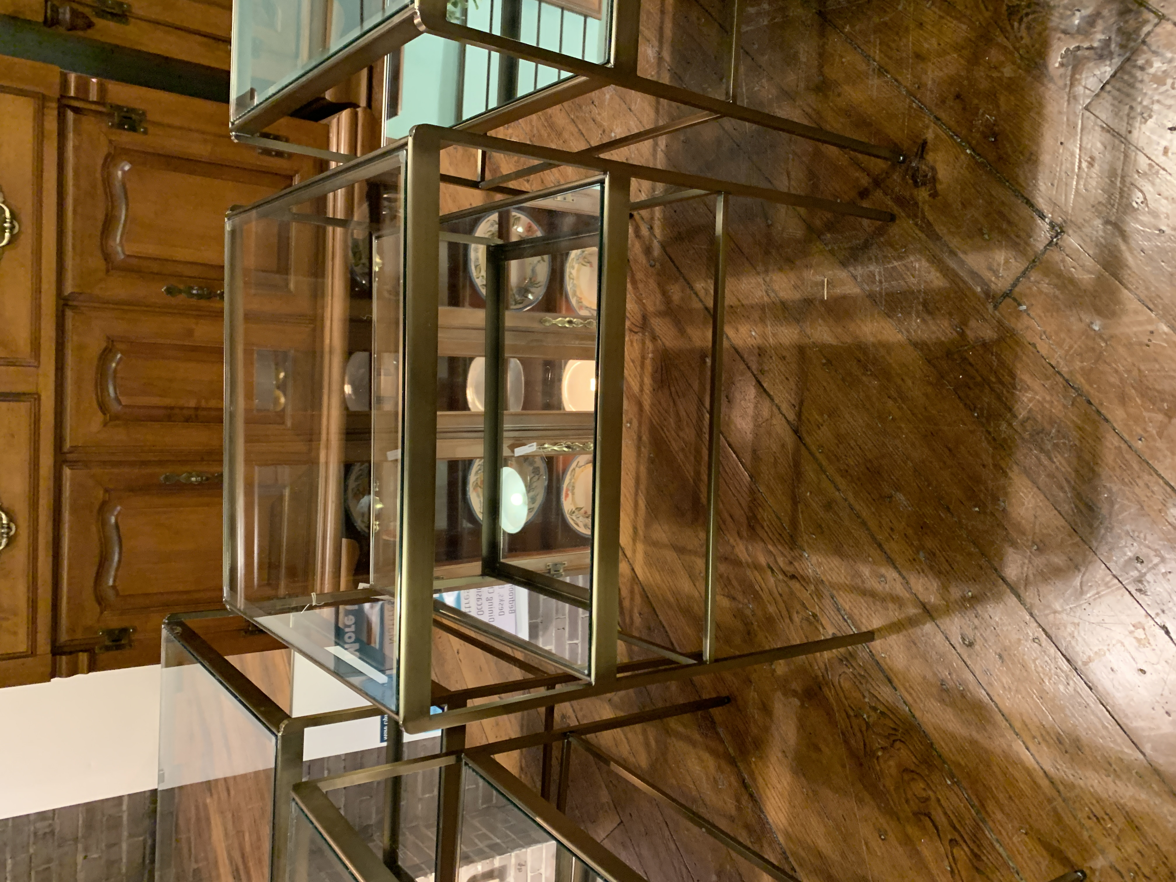 GOLD & GLASS MIRROR END TABLE