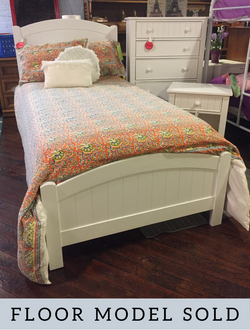 WHITE PANEL TWIN BED W/RAILS