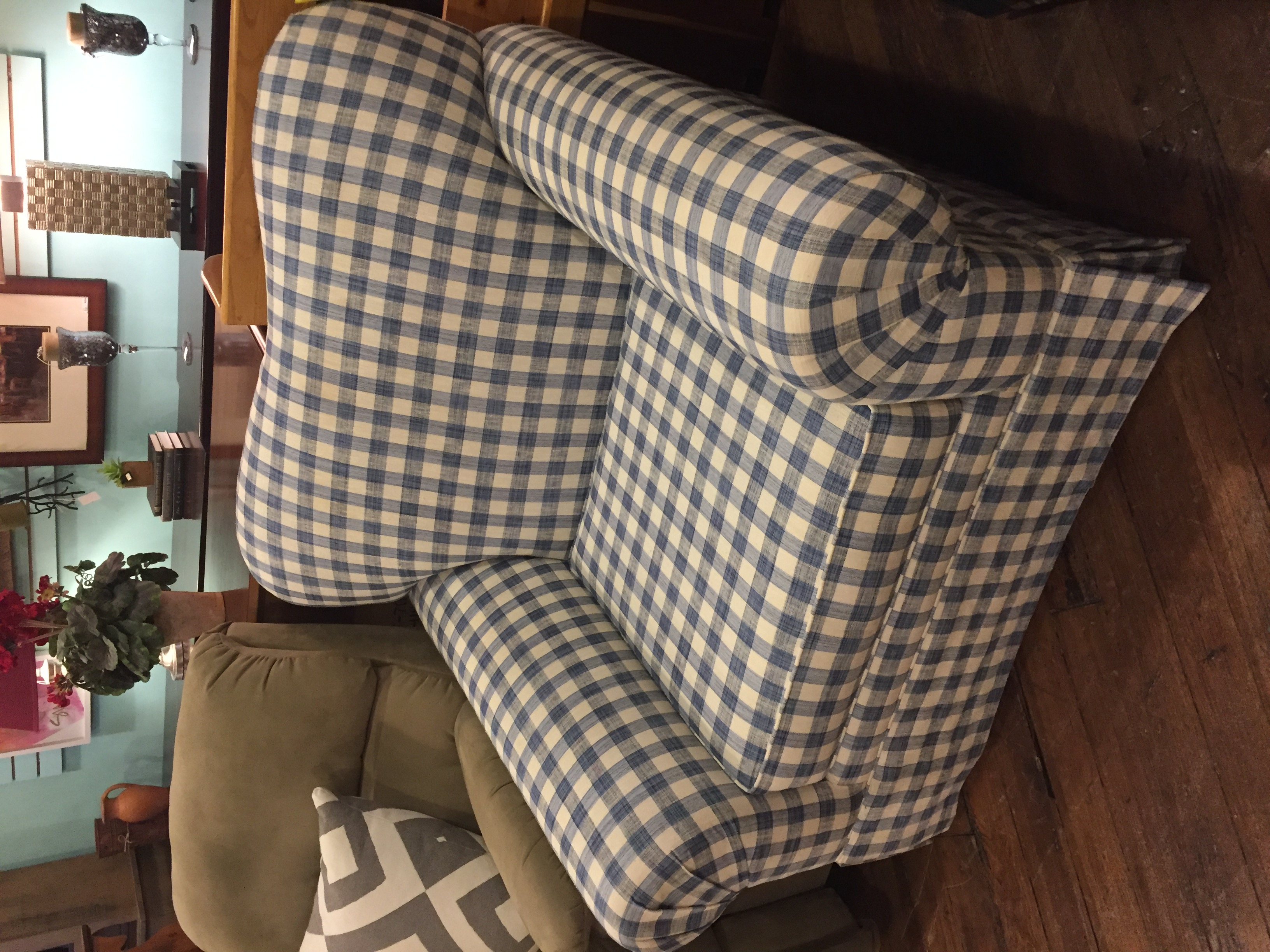 BLUE PLAId OVERSIZED CHAIR