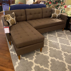 CHOCOLATE BROWN SOFA WITH CHAISE