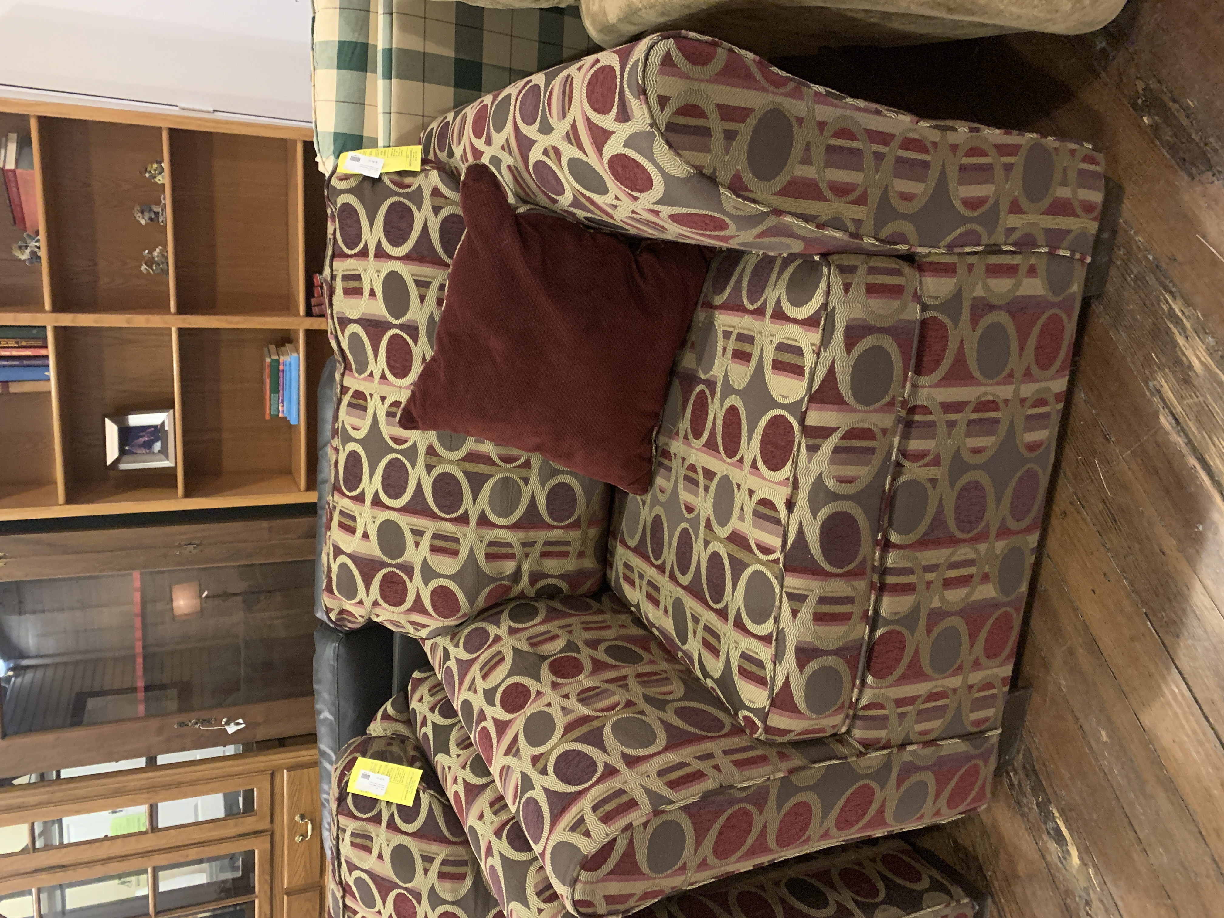 RED & BROWN PATTERN ACCENT CHAIR