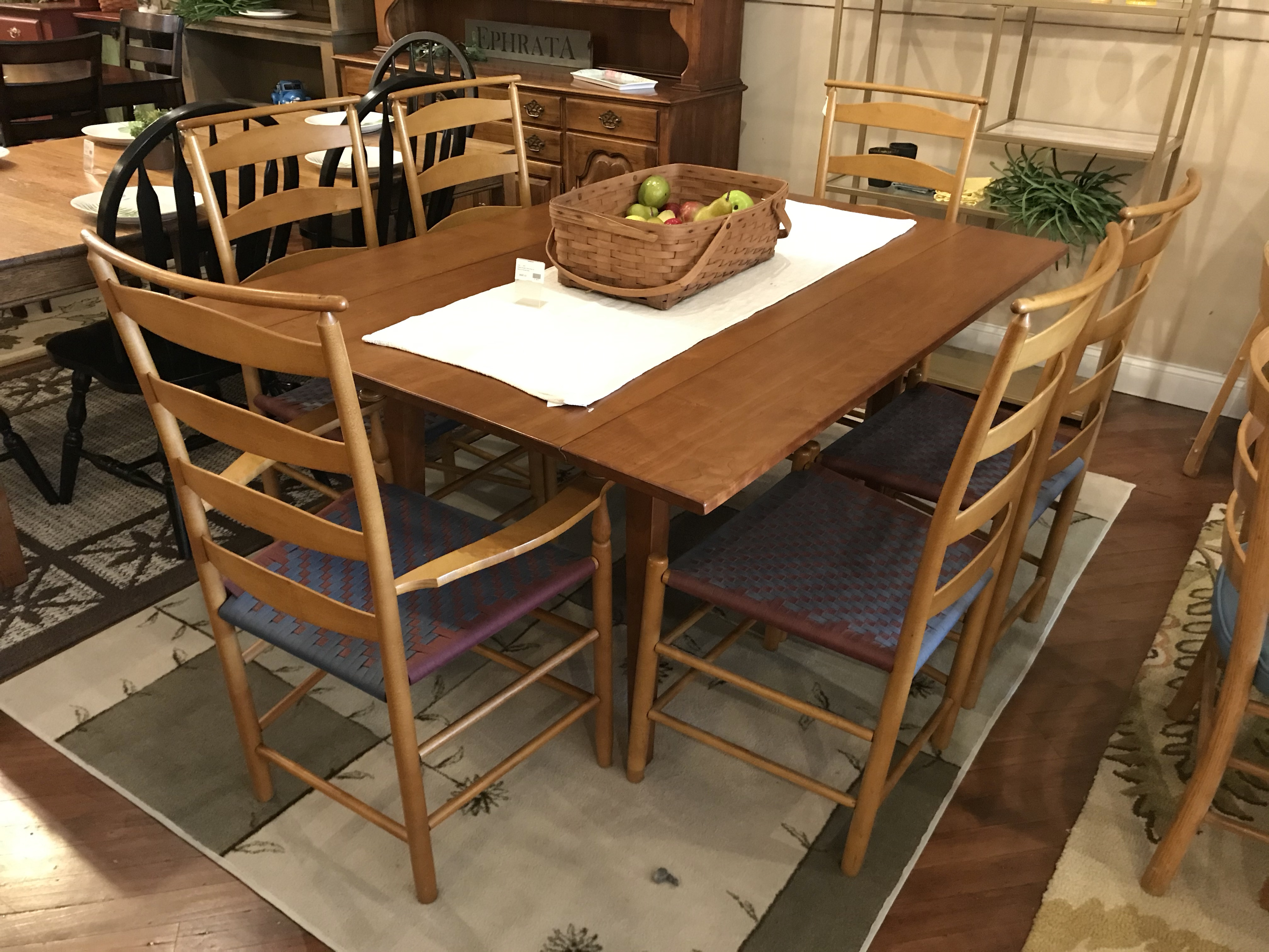 SHAKER SHOPPE CHERRY DROP LEAF TABLE & 6 CHAIRS