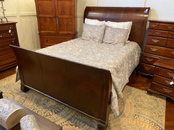 PINE & LEATHER QUEEN SLEIGH BED