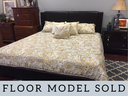 BROWN FAUX LEATHER KING BED