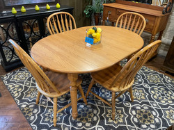 OAK OVAL TABLE & 4 CHAIRS