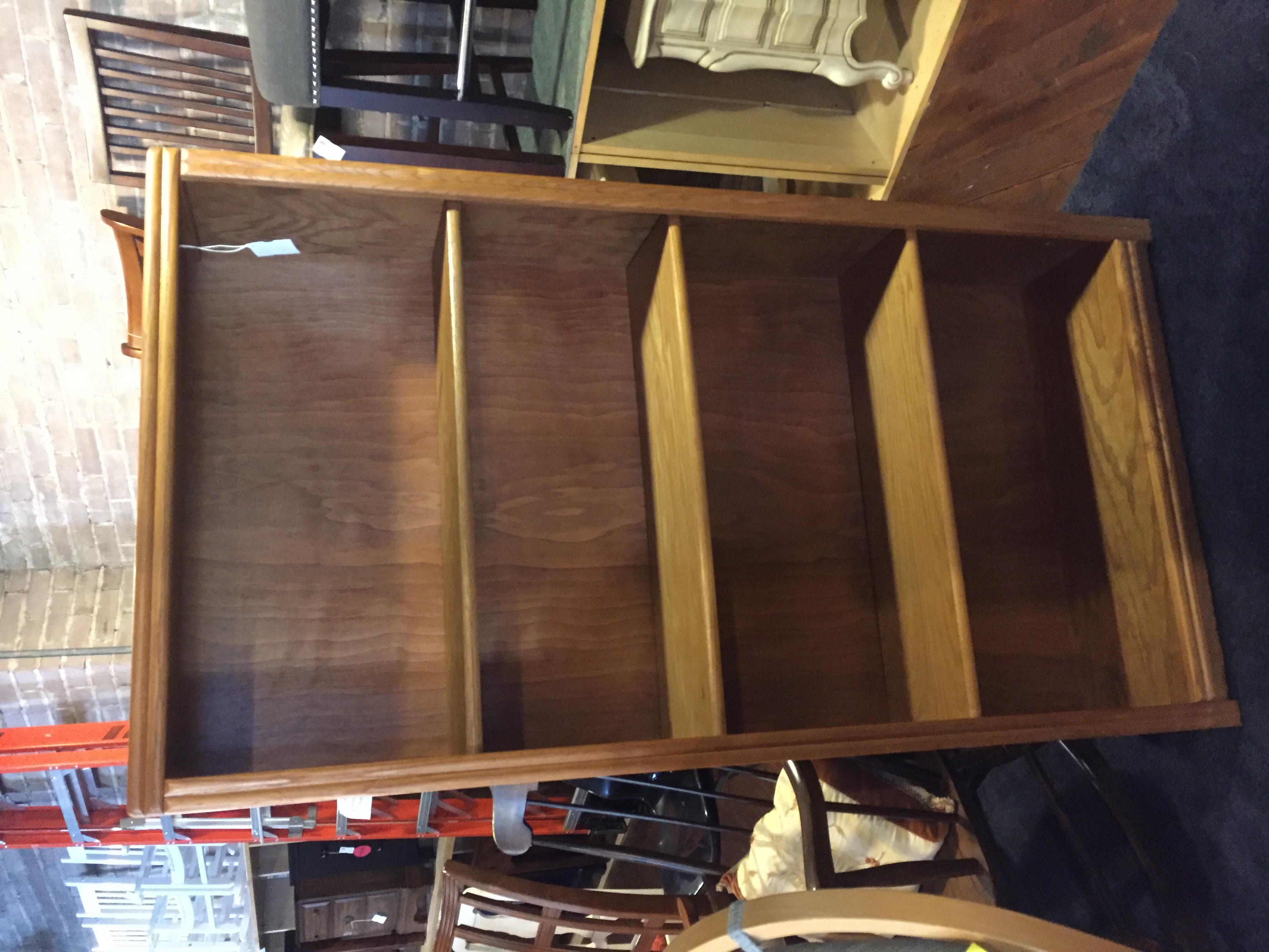 LARGE OAK FINISH BOOKSHELF