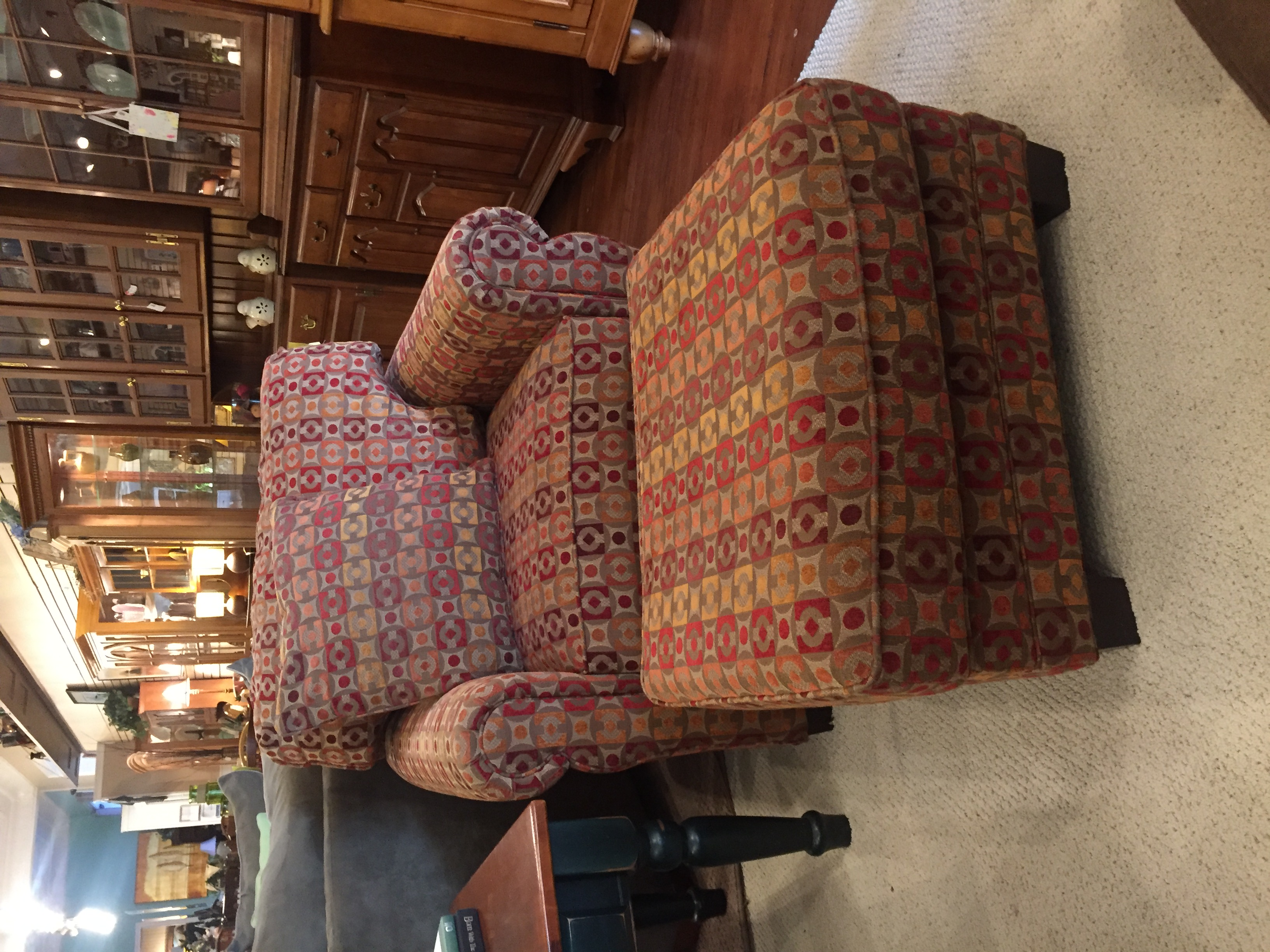 RED PATTERN CHAIR & OTTOMAN