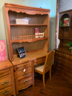 PINE FLOWERED DESK WITH HUTCH & CHAIR