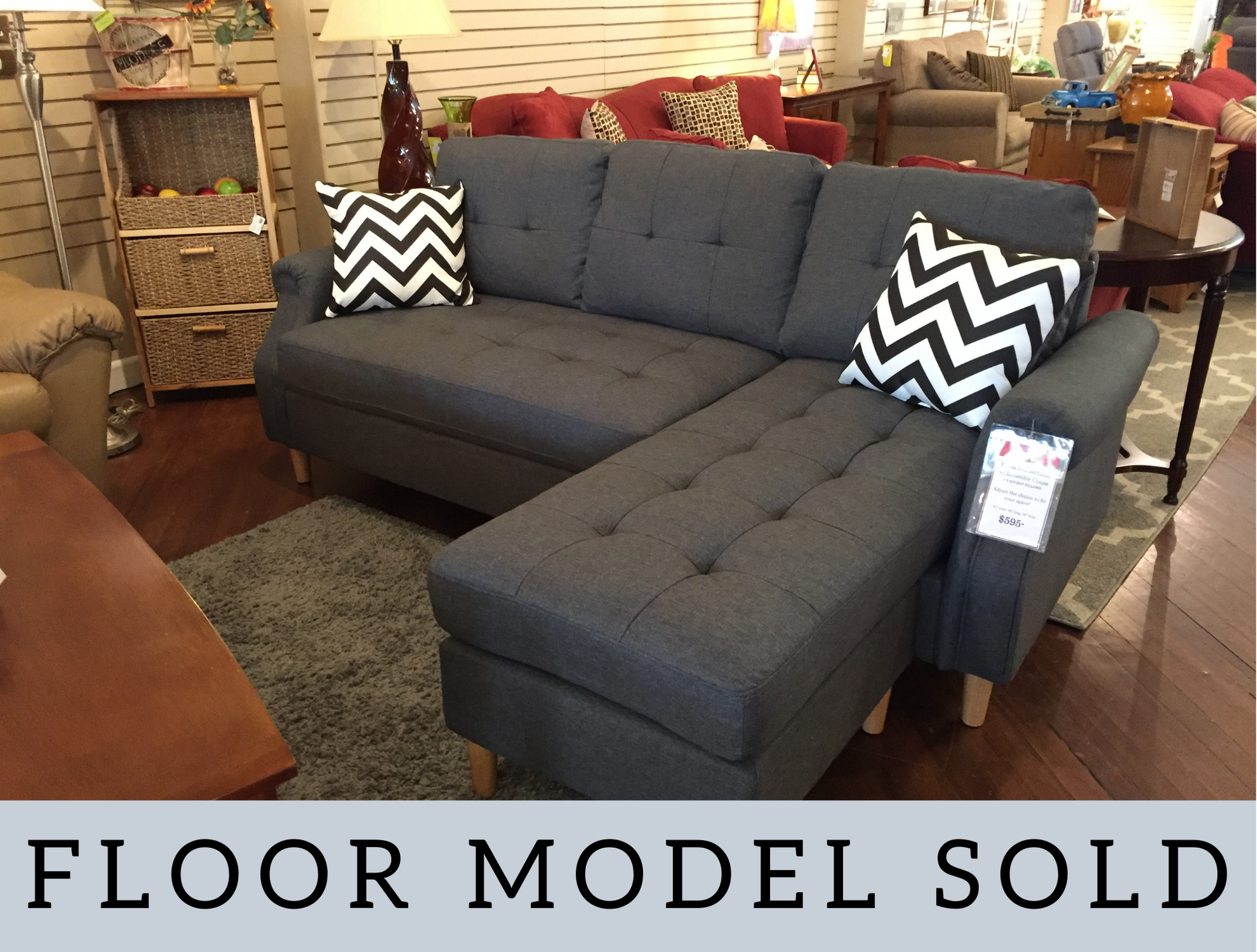 BLUE GRAY ROLLED ARM SOFA