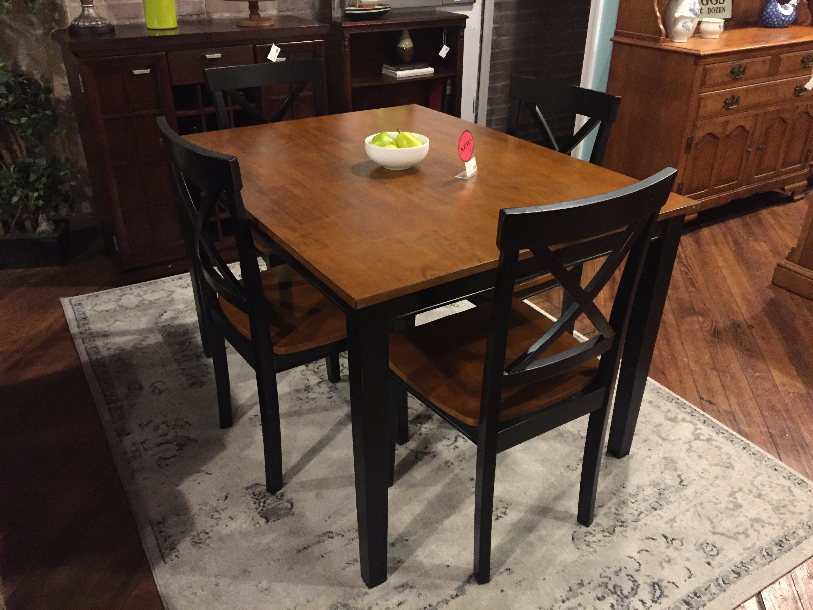 BLACK & WOOD DINING TABLE & 4 CHAIRS