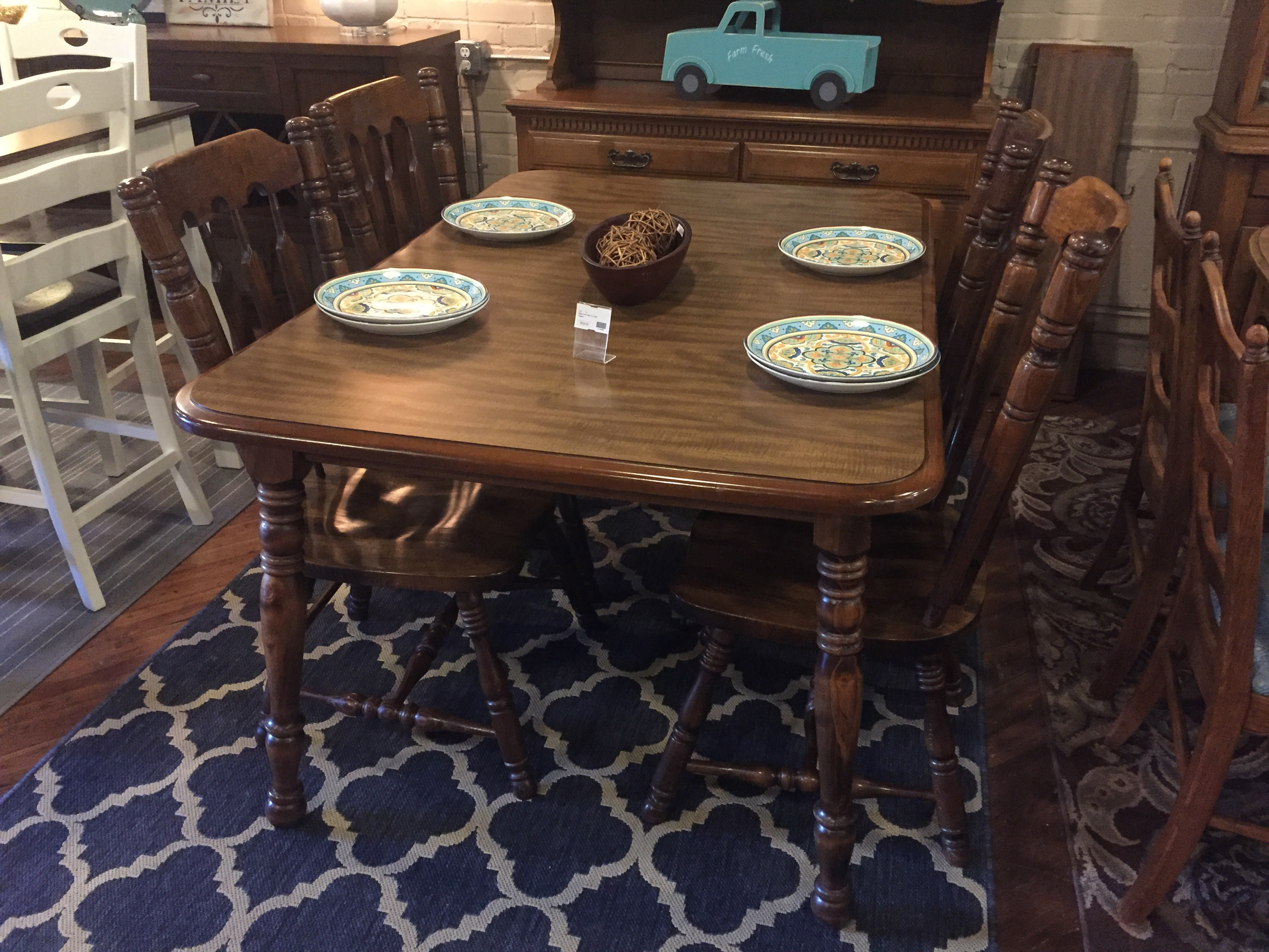 MAPLE FINISH TABLE & 4 CHAIRS